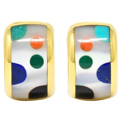 Asch Grossbardt Mother-Of-Pearl Inlay 14 Karat Gold Huggie Earrings