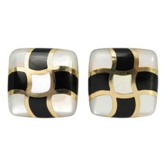 Asch Grossbardt Onyx and Mother of Pearl Earrings
