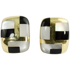 Asch Grossbardt Onyx and Mother of Pearl Gold Earrings