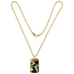 Asch Grossbardt Onyx, Mother of Pearl and Diamond Pendant Necklace
