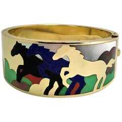 Asch Grossbardt Stampeding Horses Themed Gold Inlaid Stone Cuff/Bangle