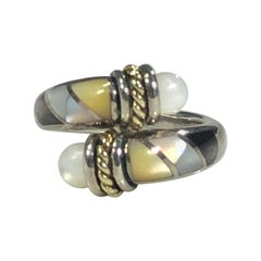 Asch Grossbardt Sterling/ 18 Karat Inlaid Mother of Pearl Contemporary Ring