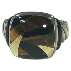 Asch Grossbardt Sterling/18 Karat Inlaid Onyx and Tiger's Eye Contemporary Ring