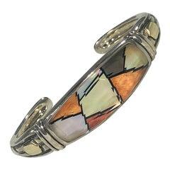 Asch Grossbardt Sterling/18 KT Spiny Oyster and Faceted Crystal Hinged Bracelet
