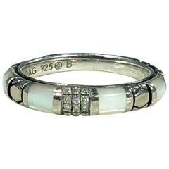 Asch Grossbardt Sterling Silver Inlaid Mother of Pearl and Diamond Ring