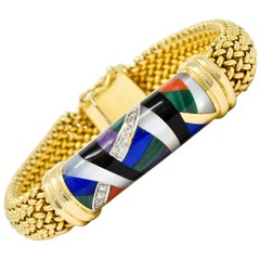 Asch Grossbardt Vintage Diamond Gemstone Inlay 14 Karat Gold Mesh Bracelet
