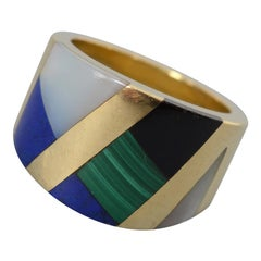 Asch Grossbardt Wide Gold Band Inlaid Stones Ring