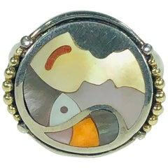 "Asch Grossbradt Sterling or 18 Karat Spiny Oyster ""Picasso"" Ring"
