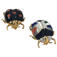 Asch Grossbardt Gold Diamond and Gemstone Inlay Beetle Brooches