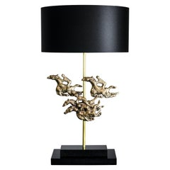 'Ascot'  Bronze table lamp on black marble base