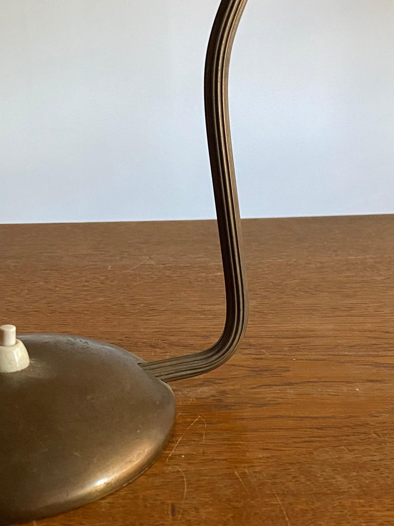 Mid-20th Century ASEA, Adjustable Functionalist Desk Light or Table Lamp, Brass, Sweden, 1940s For Sale
