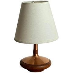 ASEA Belysning, Small Table Lamp, Copper, Turned Teak, Sweden, 1960s