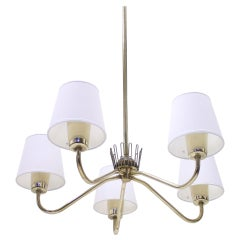 ASEA Brass Chandelier with 5 Lights, 1950s