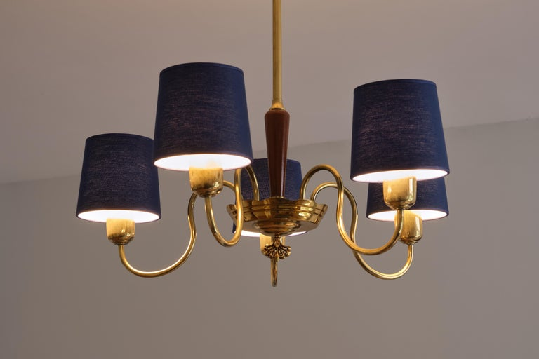 Swedish ASEA Five Arm Chandelier in Brass with Blue Shades, Sweden, 1940s For Sale