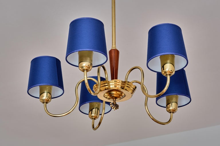 ASEA Five Arm Chandelier in Brass with Blue Shades, Sweden, 1940s For Sale 2