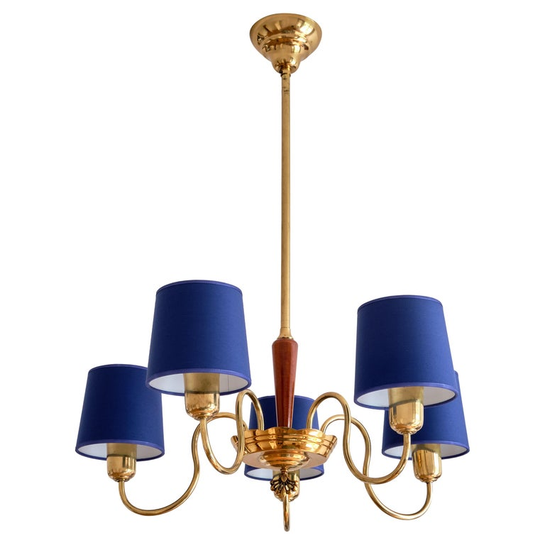 ASEA Five Arm Chandelier in Brass with Blue Shades, Sweden, 1940s For Sale
