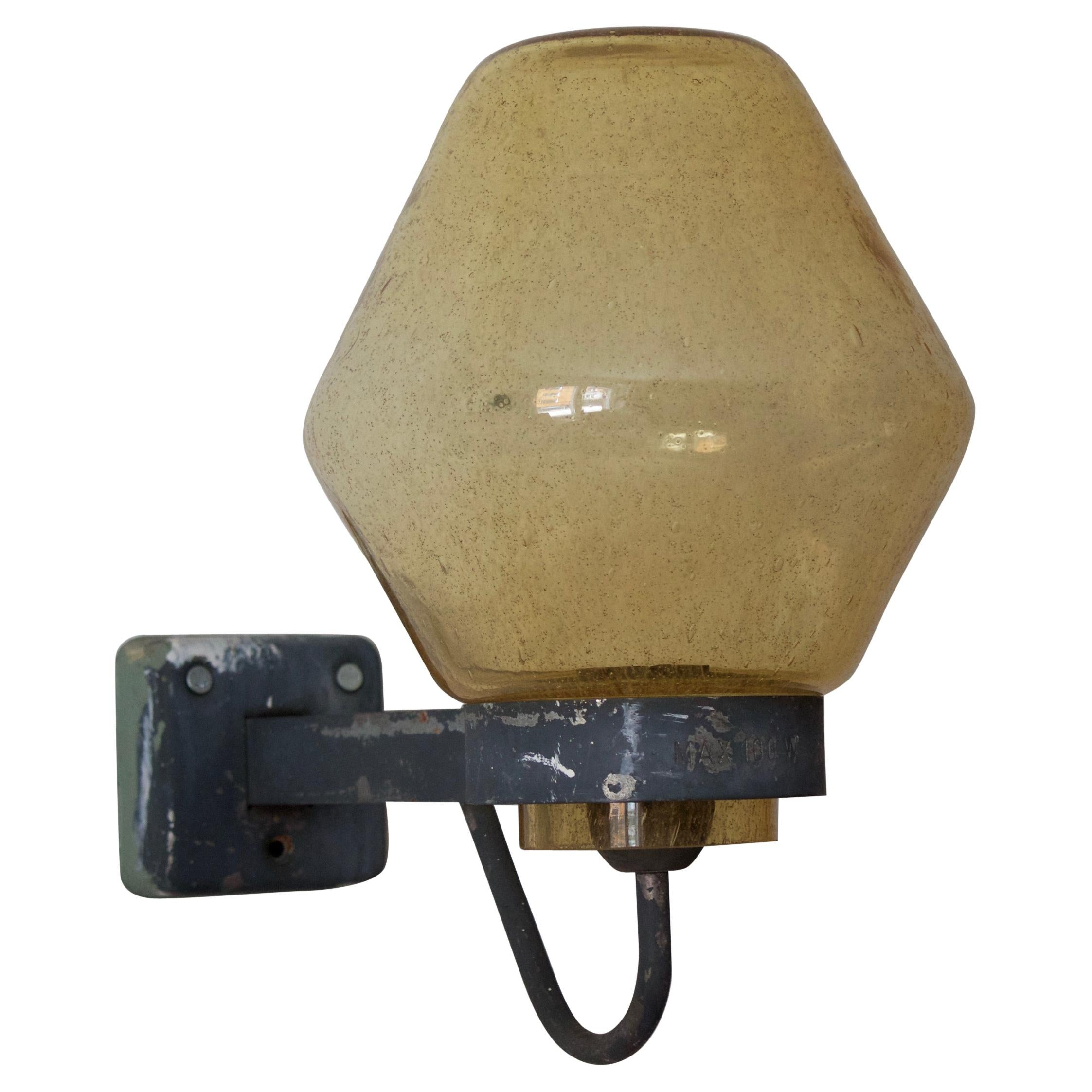 ASEA, Wall Light, Lacquered Metal, Blown Glass, Sweden, 1940s