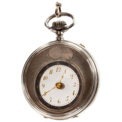 AS&F Silver Mysterieuse Pocket Watch with Transparent Dial and Silver Chain