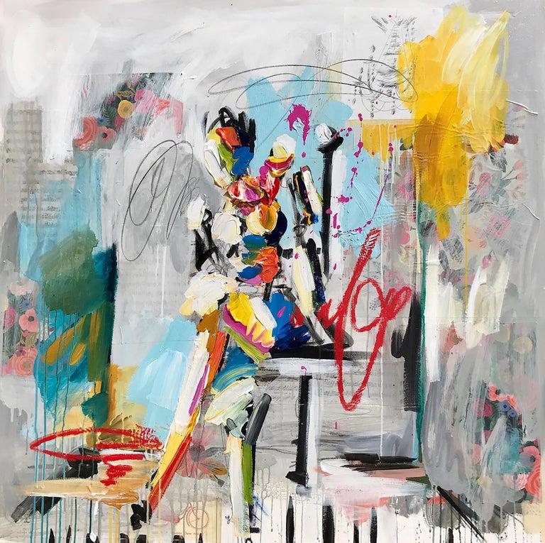 "Ash Almonte, ""Sitting Pretty"", Mixed Media on Canvas, 2018 - Mixed Media Art by Ash Almonte"