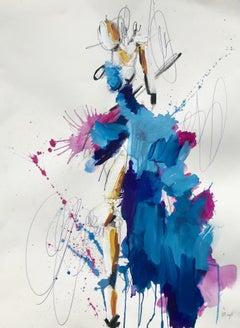 Blue and Magenta Dress