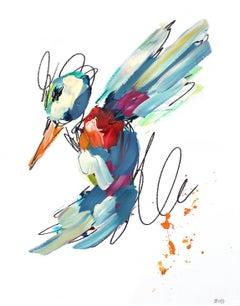 Blue Red and Orange Hummingbird