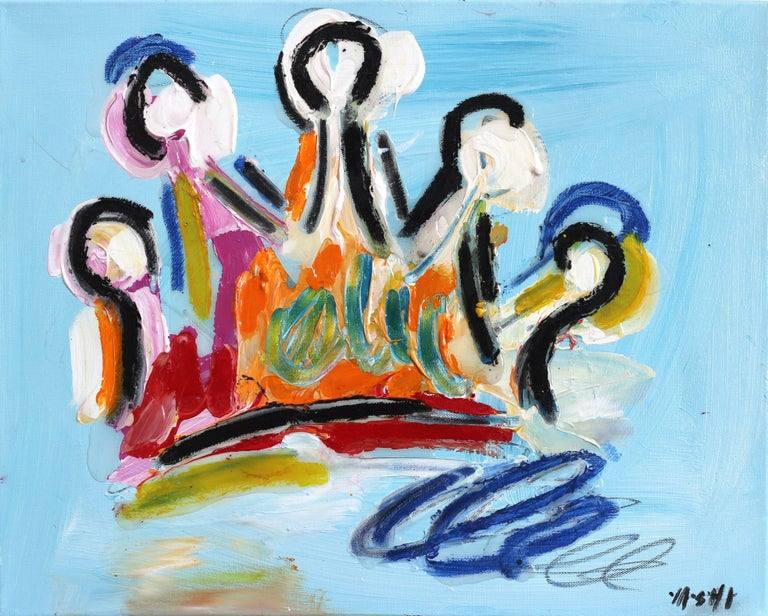 Light Blue & Orange Crown - Mixed Media Art by Ash Almonte