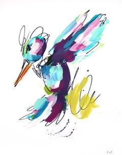 Purple Blue and Green Hummingbird