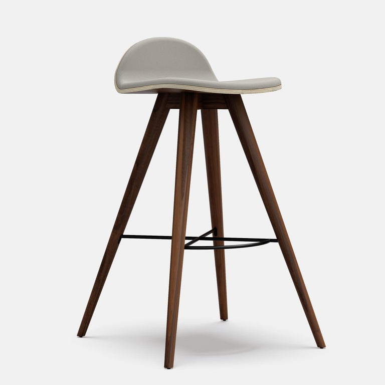 Organic Modern Ash and Fabric Contemporary Counter Stool For Sale