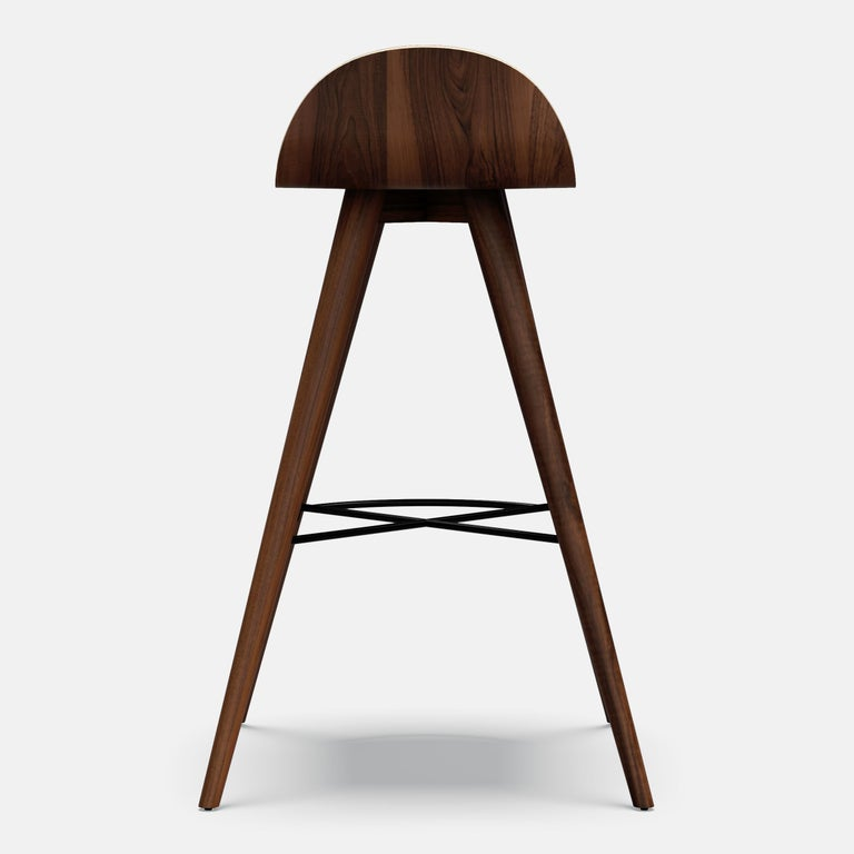 Portuguese Ash and Fabric Contemporary Counter Stool For Sale