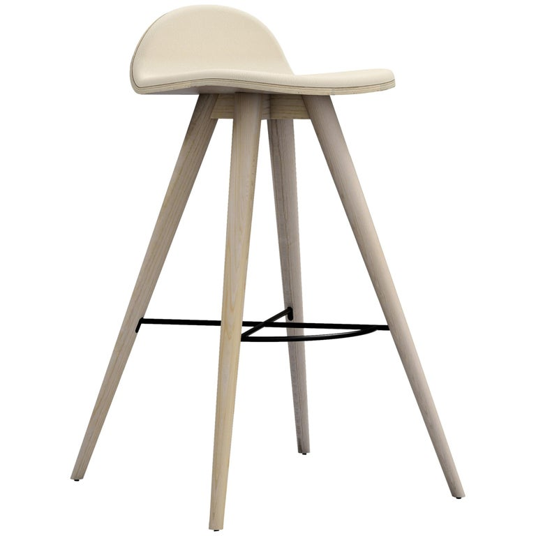 Ash and Fabric Contemporary Counter Stool For Sale