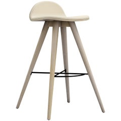 Ash and Fabric Contemporary High Stool by Alexandre Caldas