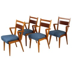 Ash and Walnut Dining Chairs from Jitona Sobeslav, 1950s, Set of Four