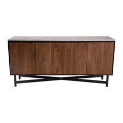 Ash and Walnut Server with Patina Steel and Juna Grey Top