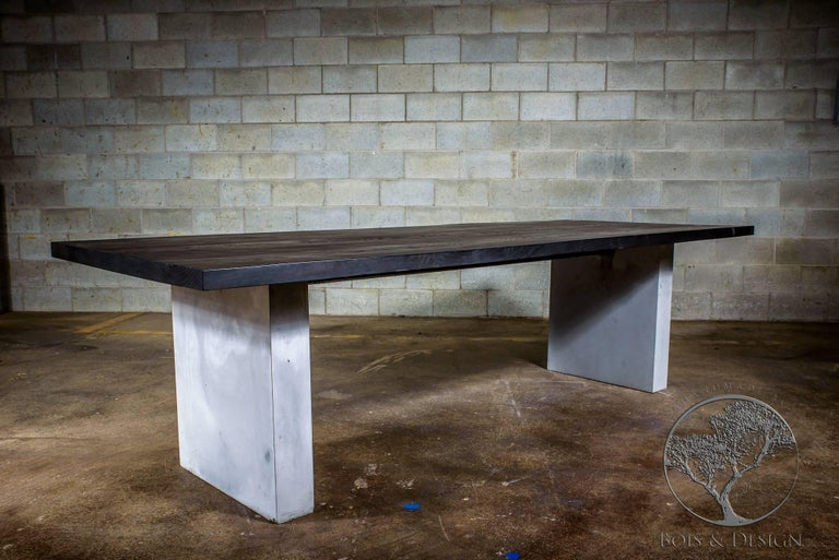 Astounding Ash Dining Table Stained Black On Concrete Legs Download Free Architecture Designs Rallybritishbridgeorg