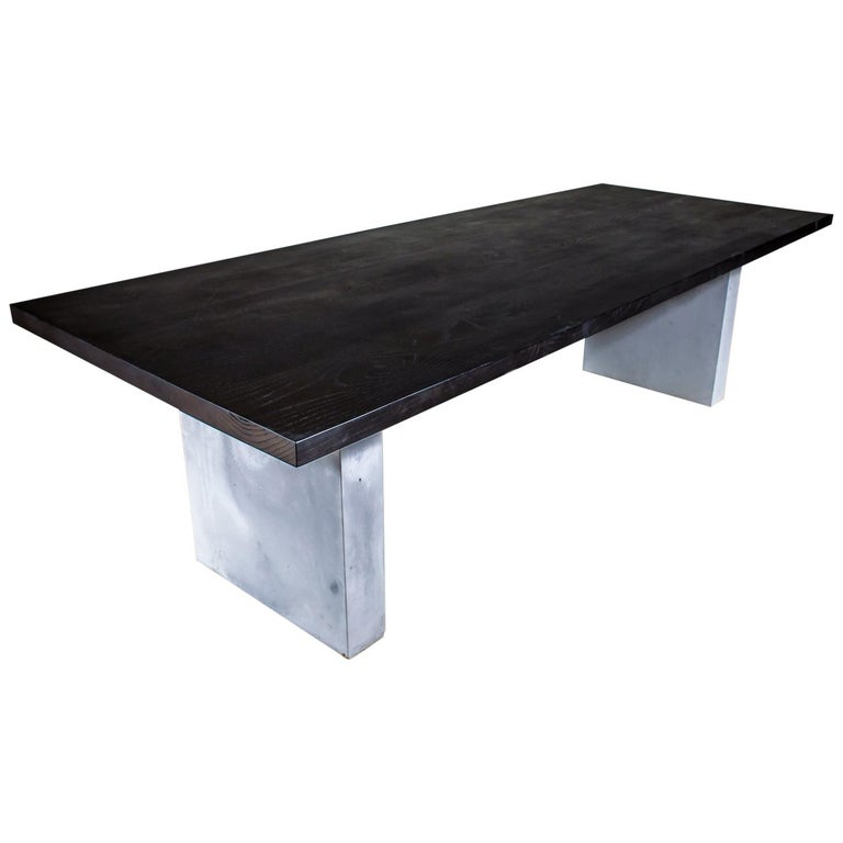 Balustrade Coffee Table Legs Canada: Ash Dining Table Stained Black On Concrete Legs For Sale