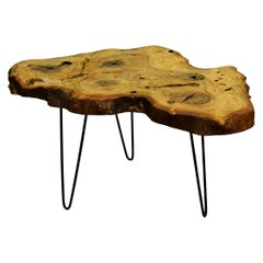 Ash Tree Live Edge Coffee Table with Hairpin Legs / LECT112
