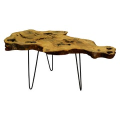 Ash Tree Live Edge Coffee Table with Hairpin Legs / LECT123