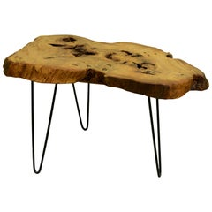 Ash Tree Live Edge Coffee Table with Hairpin Legs / LECT126