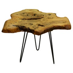 Ash Tree Live Edge Coffee Table with Hairpin Legs / LECT135