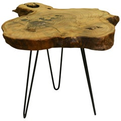 Ash Tree Live Edge Coffee Table with Hairpin Legs / LECT137