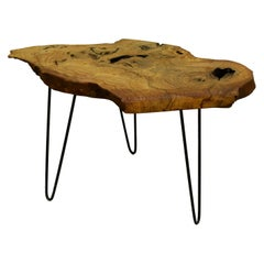 Ash Tree Live Edge Coffee Table with Hairpin Legs / LECT151