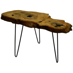 Ash Tree Live Edge Coffee Table with Hairpin Legs / LECT159