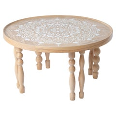 Ash Wood Coffee Table with Arabesque-Inspired Legs & Stenciled Mandala Motif