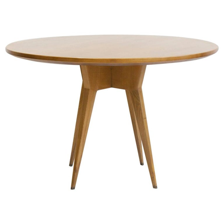 Ash Wood Round Table with Brass Details For Sale