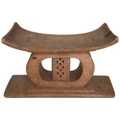 Ashanti African Tribal Stool in Hand Carved Wood, Early 20th Century