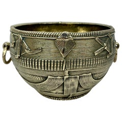 Ashanti Solid Bronze Bowl with Ring Handles-Africa, Early 20th Century