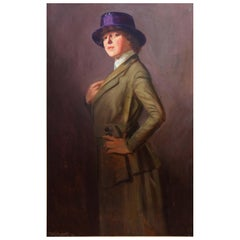 "Ashcan School Painting ""Lady in a Violet Hat"" by W.E. Prather Dated 1918"