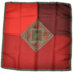 "Ashear Elegant Warm Hues of Red with ""Imperial"" Center Silk Handkerchief"