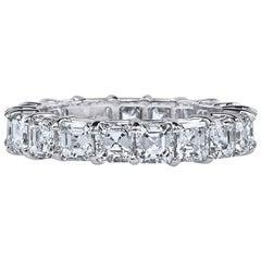 Asher Cut Platinum GIA Certified 4 Carat Diamond Ring Eternity Band