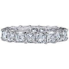 Asher Cut Platinum GIA Certified 5 Carat Diamond Ring Eternity Band
